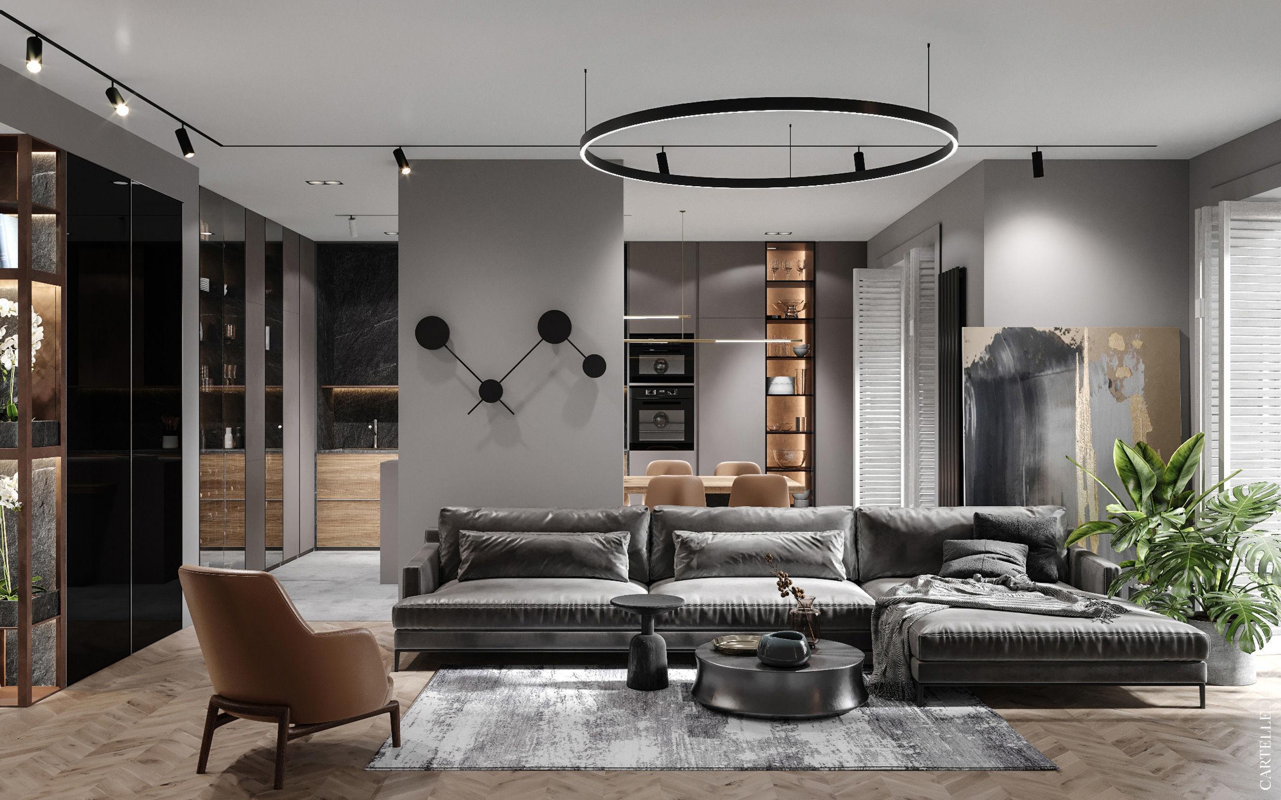 Gray Space - minimál stílusú modern lakás